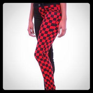 Royal bones red and black jeans